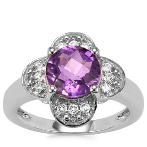 Zambian Amethyst Ring with White Topaz in Sterling Silver 2.06cts