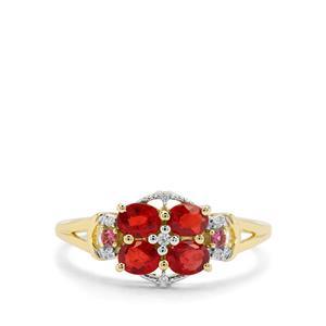 Songea Ruby, Pink Tourmaline & White Zircon 9K Gold Ring ATGW 1cts