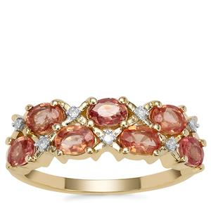 Tanzanian Sunset Sapphire Ring with Diamond in 9K Gold 1.70cts
