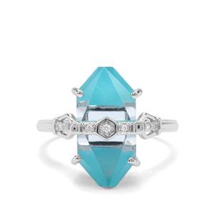 Lehrer Cosmic Obelisk Sky Blue Topaz, Sleeping Beauty Turquoise & Diamond 9K White Gold Ring ATGW 8.79cts
