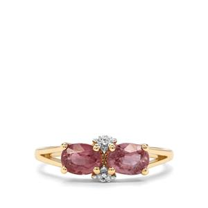 Padparadscha Sapphire & Diamond 9K Gold Ring ATGW 1.58cts