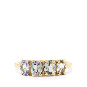 Bi Color Tanzanite Ring with Diamond in 10k Gold 1.51cts