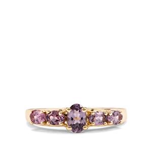 Mahenge Pink Spinel Ring with Mahenge Purple Spinel in 9K Gold 1.23cts