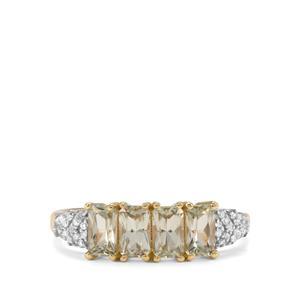 Csarite® & Diamond 9K Gold Ring ATGW 1.23cts