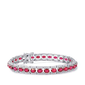 Malagasy Ruby Bracelet with Diamond in Sterling Silver 19.77cts (F)