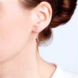 Cognac Zircon Earrings with White Zircon in 9K Gold 2.53cts