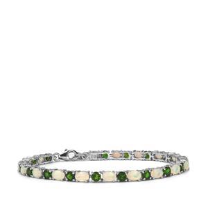 Ethiopian Opal & Chrome Diopside Sterling Silver Bracelet ATGW 9.44cts