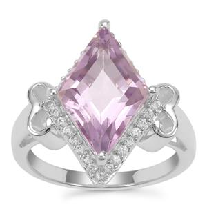 Rose De France Amethyst Ring with White Zircon in Sterling Silver 5.08cts