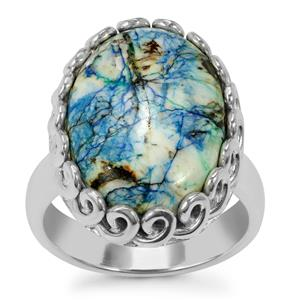 Azurite Diopside Ring in Sterling Silver 13cts