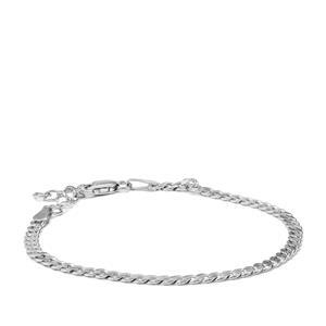 "7"" Sterling Silver Altro Diamond Cut Curb Bracelet 3.51g"