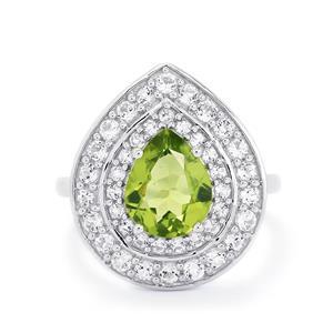 Changbai Peridot & White Topaz Sterling Silver Ring ATGW 3.12cts