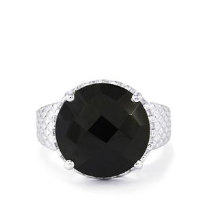 Black Spinel Ring in Sterling Silver 12cts