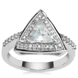 Aquamarine Ring with White Zircon in Sterling Silver 1.24cts