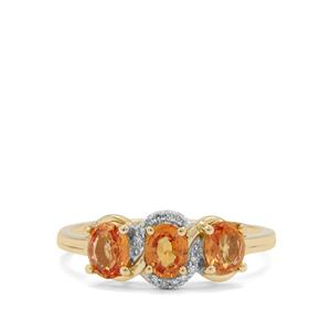 Tanzanian Sunset Sapphire Ring with Diamond in 9K Gold 1.45cts