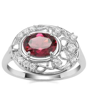 Mahenge Garnet Nora Saul Ring with White Zircon in Sterling Silver 1.88cts