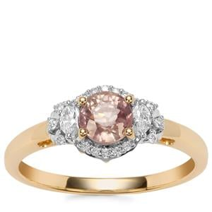 Padparadscha Sapphire Ring with Diamond in 18K Gold 1.08cts