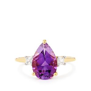 Moroccan Amethyst Ring with White Zircon in 9K Gold 2.94cts