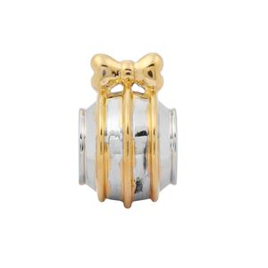 Bauble with Strips and Bow Kama Bead Charms in Two Tone Gold Plated Sterling Silver