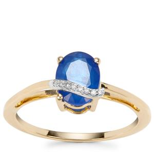 Santorinite™ Blue Spinel Ring with Diamond in 9K Gold 1.50cts