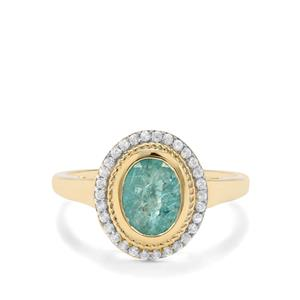 Carnaiba Brazilian Emerald & White Zircon 9K Gold Ring ATGW 1.41cts