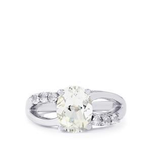 Itinga Petalite & White Topaz Sterling Silver Ring ATGW 1.79cts