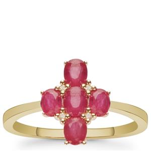 Montepuez Ruby Ring with Diamond in 9K Gold 1.10cts
