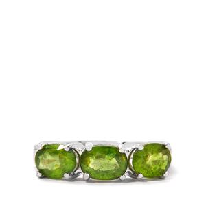 Green Sapphire & White Zircon Sterling Silver Ring ATGW 3.43cts (F)