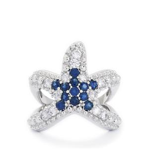 Blue Sapphire & White Zircon Starfish Sterling Silver Ring ATGW 1.76cts