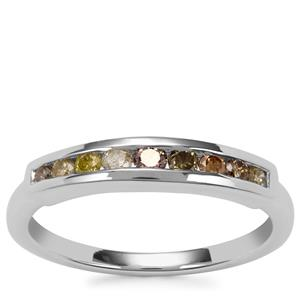 Multi-Colour Diamond Ring in Sterling Silver 0.33ct