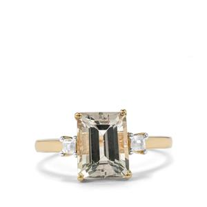 Tourmaline Ring with White Zircon in 9K Gold 2.68cts