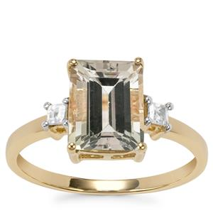 Tourmaline Ring with White Zircon in 10K Gold 2.68cts