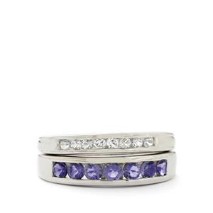 Iolite & White Topaz Sterling Silver Set of 2 Ring ATGW 1.12cts