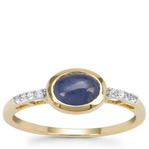 Burmese Blue Sapphire Ring with White Zircon in 9K Gold 1.20cts