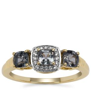 Burmese Grey Spinel Ring with White Zircon in 9K Gold 1.25cts