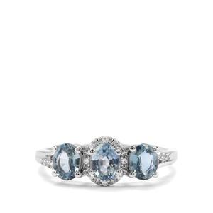 Sant Sapphire & White Zircon 9K White Gold Ring ATGW 1.43cts