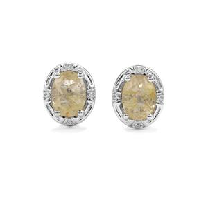 Bahia Rutilite Cufflinks with White Topaz in Sterling Silver 2.13cts