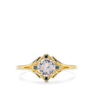 Singida Tanzanian Zircon & Blue Diamond 9K Gold Ring ATGW 1cts