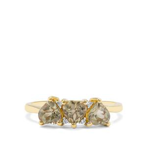 Csarite® & White Zircon 9K Gold Ring ATGW 1.53cts