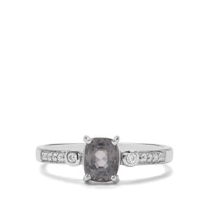 Mogok Silver Spinel & White Zircon Sterling Silver Ring ATGW 1.13cts