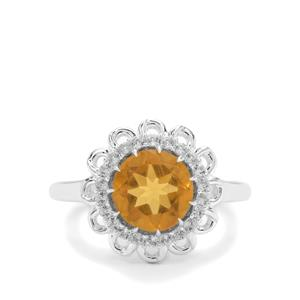 Burmese Amber & White Zircon Sterling Silver Ring ATGW 1.07cts