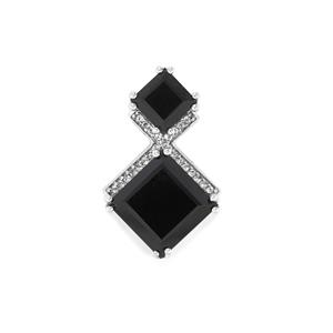 Black Spinel & White Topaz Sterling Silver Pendant ATGW 9.13cts
