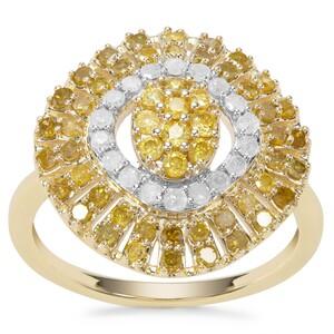 Yellow Diamond Ring with White Diamond in 9K Gold 1ct