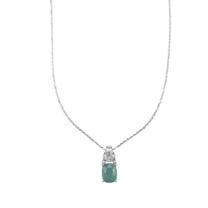 Grandidierite Pendant Necklace with Diamond in 18K White Gold 2.08cts