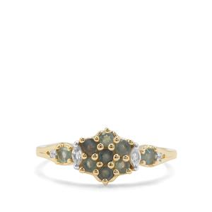 Alexandrite & White Zircon 9K Gold Ring ATGW 0.59ct