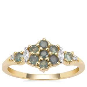 Alexandrite Ring with White Zircon in 9K Gold 0.59ct