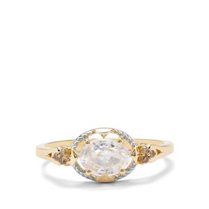 Singida Tanzanian Zircon & Champagne Diamond 9K Gold Ring ATGW 1.41cts
