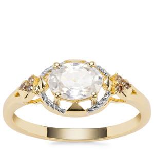 Singida Tanzanian Zircon Ring with Champagne Diamond in 9K Gold 1.41cts