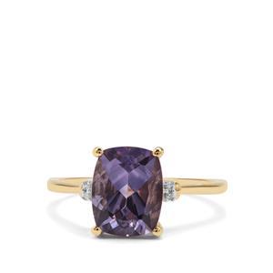 Blueberry Quartz & Diamond 9K Gold Ring ATGW 2.44cts
