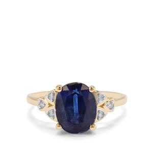 Nilamani & Diamond 9K Gold Ring ATGW 3.54cts