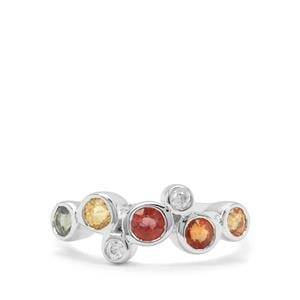 Songea Multi Sapphire & White Zircon Sterling Silver Ring ATGW 1.29cts